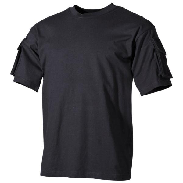 Tričko s velcro vreckami na rukávoch čierne MFH