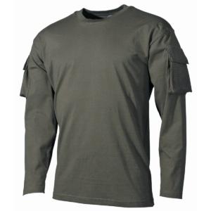 Tričko US s vreckami na rukávoch olivové MFH
