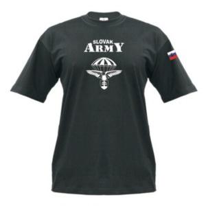 Tričko Slovak Army čierne s vlajkou