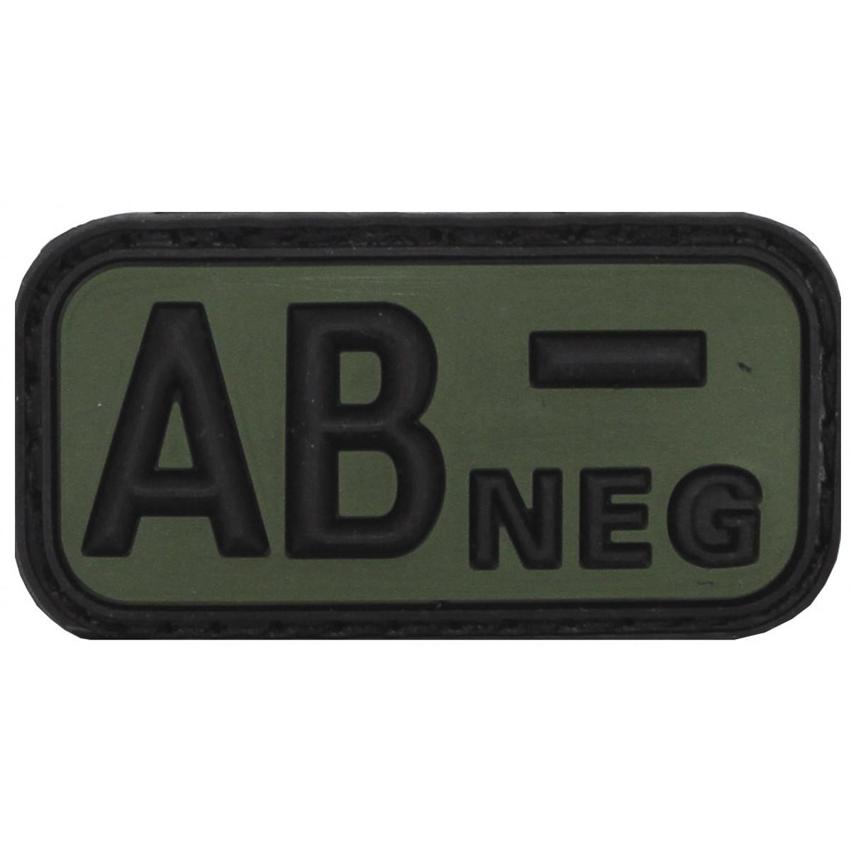 3D Nášivka krvnej skupiny, AB-, negatív, na suchý zips