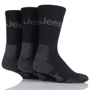 Ponožky Terrain s froté chodidlom, Čierne, 3 párové balenie, Jeep