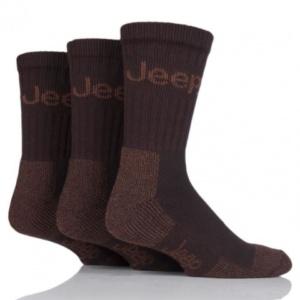 Ponožky Terrain, s froté chodidlom, Hnedé, 3 párové balenie, Jeep
