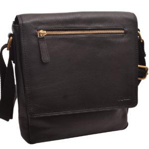 Pánska kožená Crossbody taška Čierna